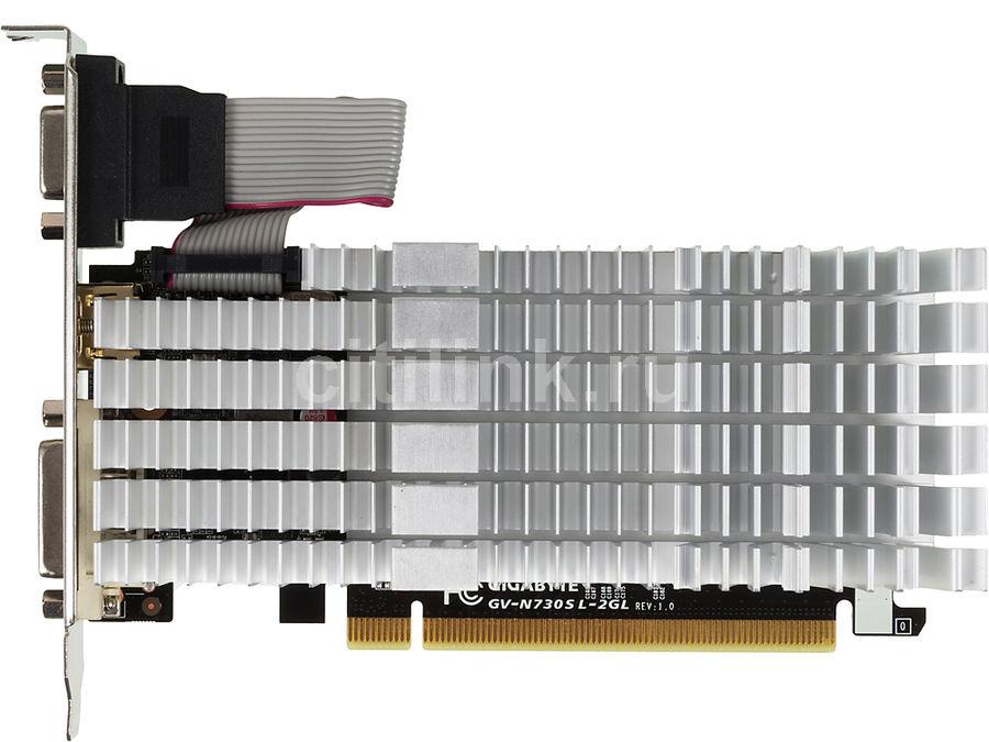 Видеокарта GIGABYTE GeForce GT 730,  GV-N730SL-2GL,  2Гб, DDR3, Low Profile,  Ret