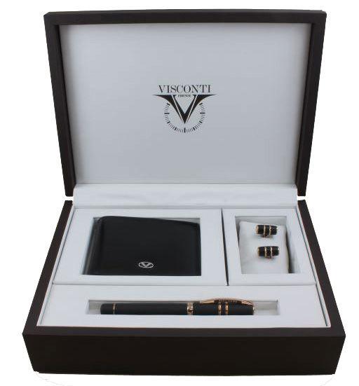 Набор подарочный Visconti Homo Sapiens Bronze f.pen+cufflinks+wallet (009-113-46602F-010) черный (F)