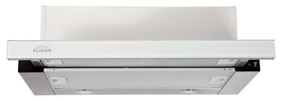 Вытяжка встраиваемая Elikor Интегра Glass 50Н-400-В2Г нержавеющая сталь/стекло белое управление: кно [кв ii м-400-50-252]
