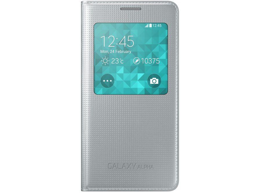 Чехол (флип-кейс) SAMSUNG S View, для Samsung Galaxy Alpha, серебристый [ef-cg850bsegru]