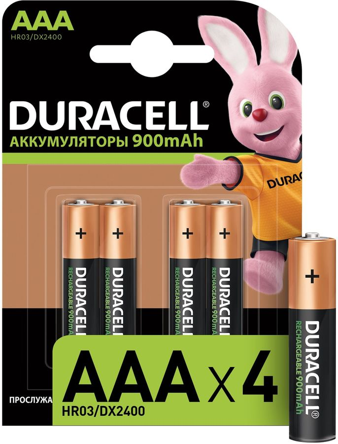 AAA Аккумулятор DURACELL Rechargeable HR03-4BL,  4 шт. 900мAч