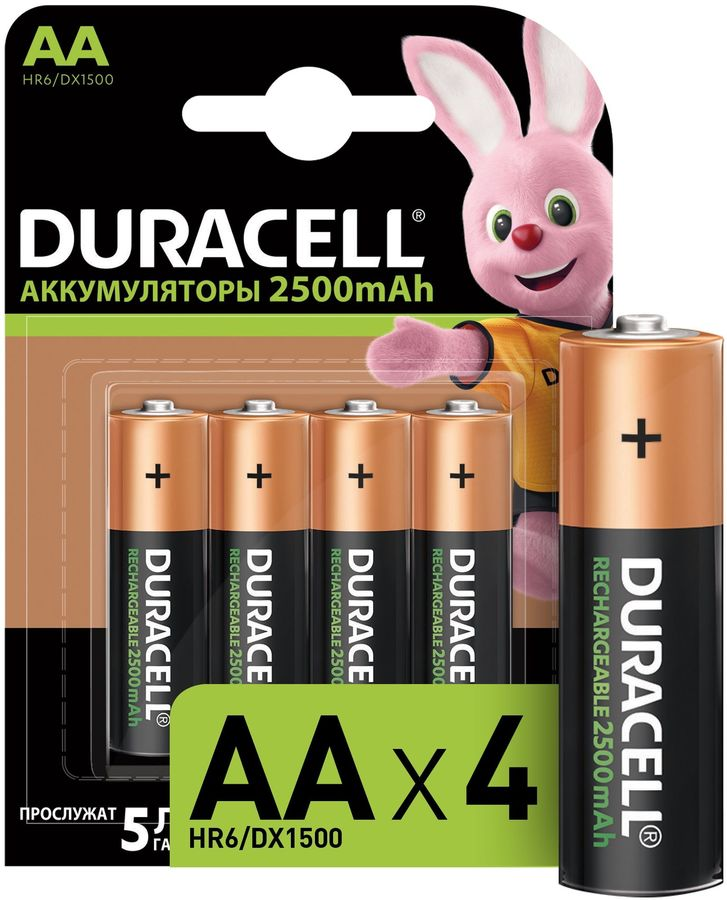 AA Аккумулятор DURACELL Rechargeable HR6-4BL,  4 шт. 2500мAч