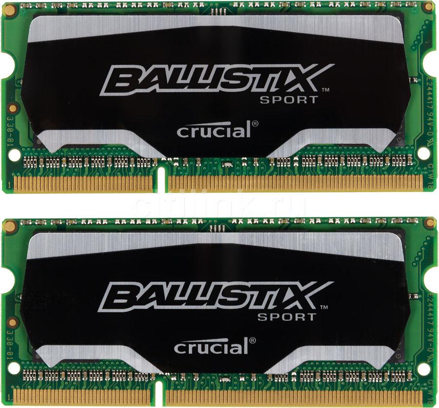 Модуль памяти CRUCIAL Ballistix Sport BLS2C4G3N18AES4CEU DDR3L -  2x 4Гб 1866, SO-DIMM,  Ret
