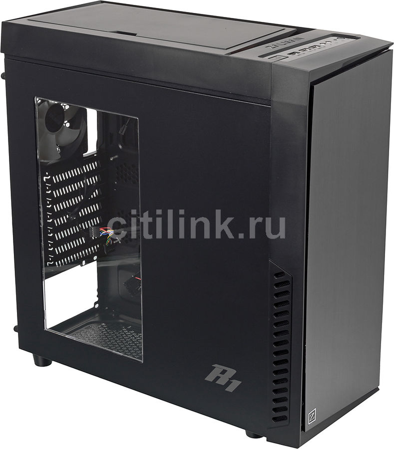 Корпус ATX ZALMAN R1, Midi-Tower, без БП, черный корпус atx zalman r1 без бп чёрный