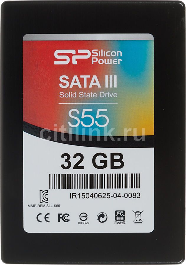 "Накопитель SSD SILICON POWER Slim S55 SP032GBSS3S55S25 32Гб, 2.5"", SATA III"