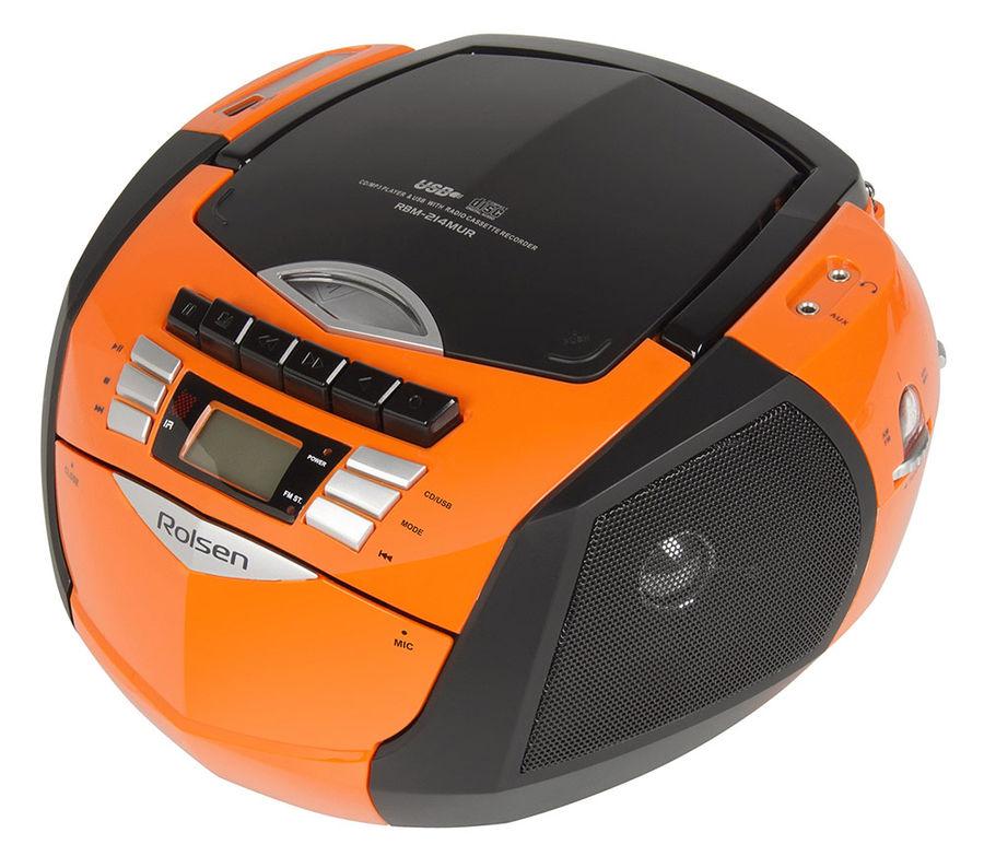 Аудиомагнитола ROLSEN RBM214MUR-OR,  оранжевый и черный