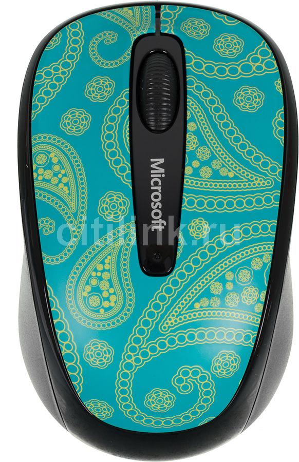 Мышь MICROSOFT Limited Edition Mint&Aqua Paisley Mobile 3500 оптическая беспроводная USB, рисунок [gmf-00411]
