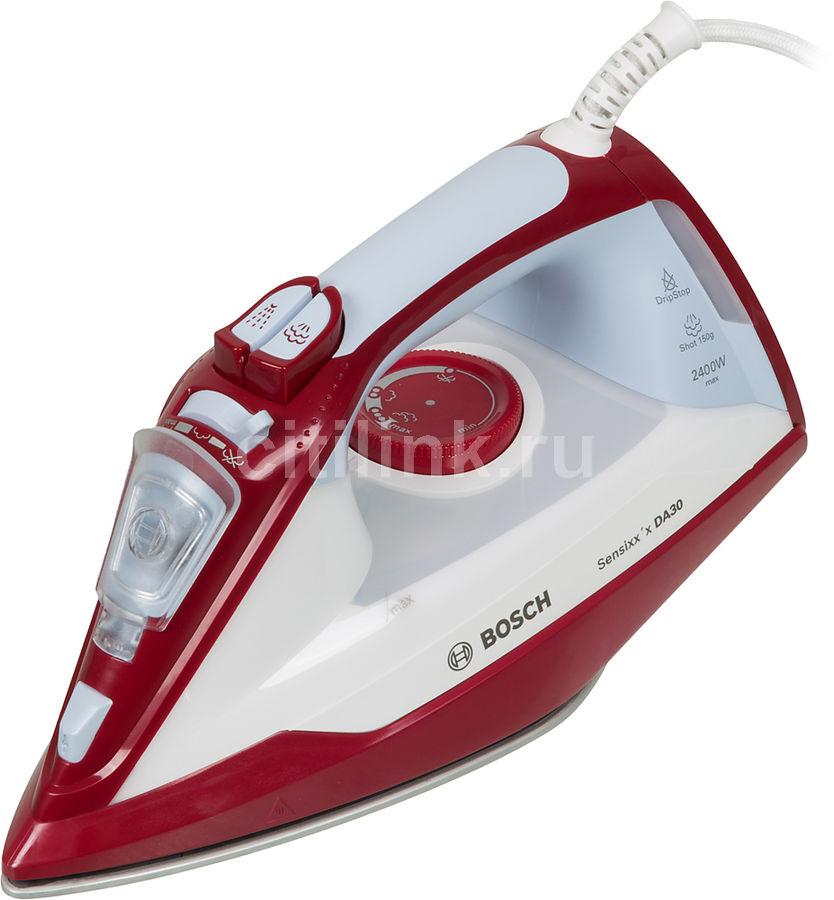 Утюг BOSCH TDA3024010, 2400Вт, белый/ красный