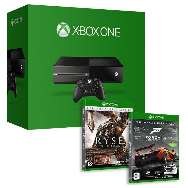 Игровая консоль MICROSOFT Xbox One с 500 ГБ памяти, играми Ryse Legendary и Forza 5,  5C5-00015 + 5F2-00019, черный