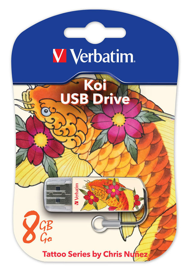 Флешка USB VERBATIM Store n Go Mini Tattoo Koi 8Гб, USB2.0, белый и узор [49882]