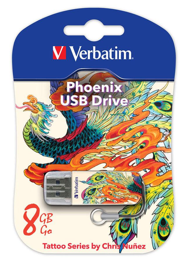 Флешка USB VERBATIM Store n Go Mini Tattoo Phoenix 8Гб, USB2.0, белый и рисунок [49883]