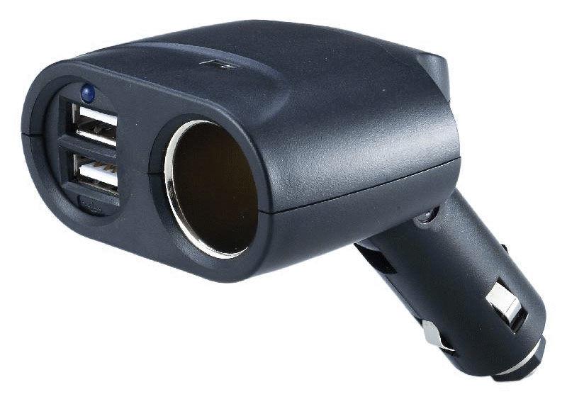 Разветвитель розетки прикуривателя WIIIX TR-04U2*,  2A,  черный