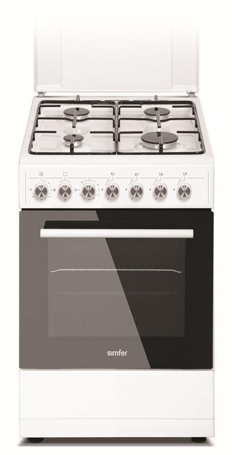 Газовая плита SIMFER F56EW43001,  электрическая духовка,  белый