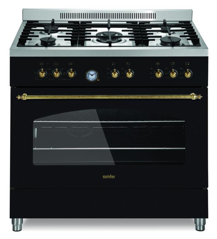 Газовая плита SIMFER P9504YEWL,  электрическая духовка,  черный