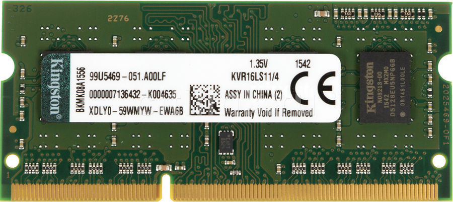 Модуль памяти KINGSTON VALUERAM KVR16LS11/4 DDR3L -  4Гб 1600, SO-DIMM,  Ret