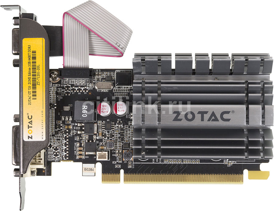 Видеокарта ZOTAC GeForce GT 720,  ZT-71201-20L,  2Гб, DDR3, Low Profile,  Ret