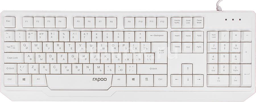Клавиатура RAPOO N2210,  USB, белый