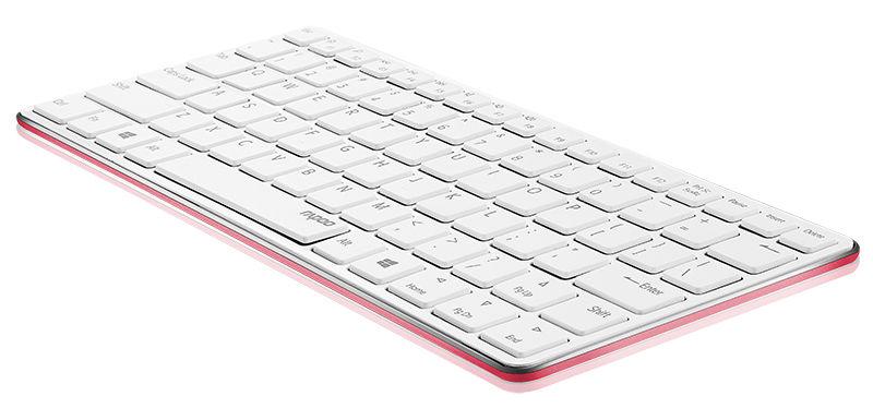 Клавиатура RAPOO E6350,  Bluetooth, беспроводная, красный