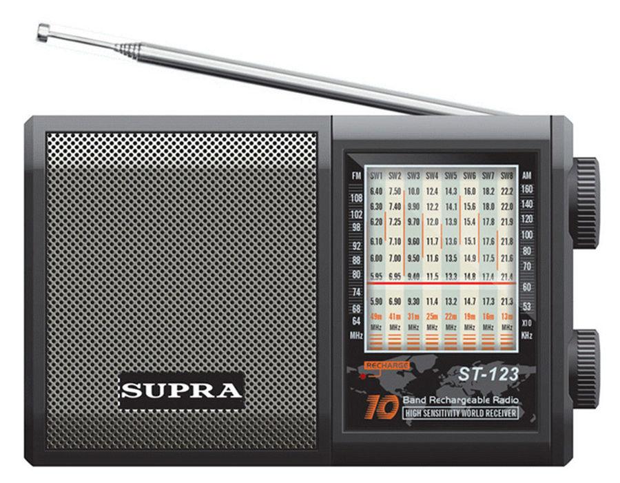 Радиоприемник SUPRA ST-123,  черный