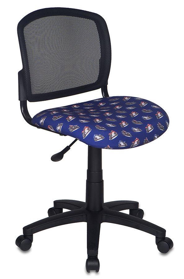 Кресло детское БЮРОКРАТ CH-296NX, на колесиках, ткань, темно-синий/принт [ch-296nx/moto_bl]