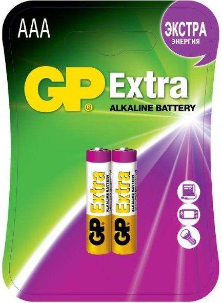 AAA Батарейка GP Extra Alkaline 24AX LR03,  2 шт.