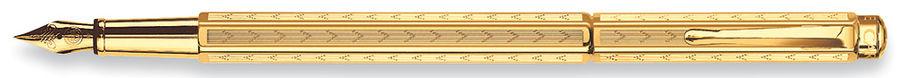 Ручка перьевая Carandache Ecridor Chevron gilded (958.198) F сталь позолоченная подар.кор.