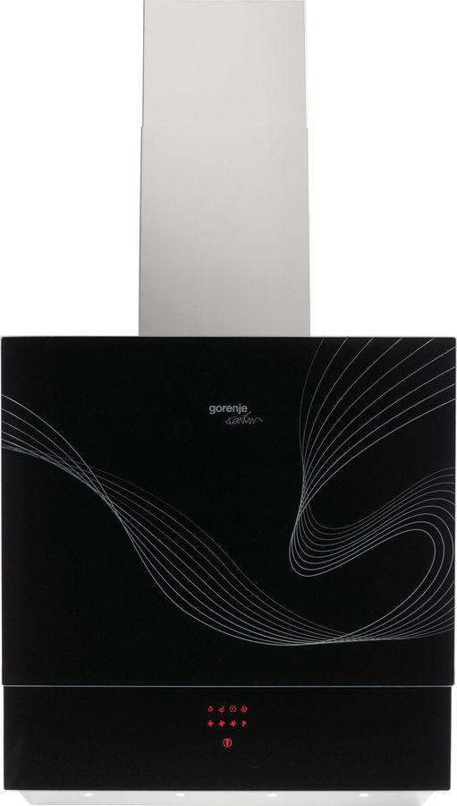 Вытяжка каминная Gorenje Karim Rashid DVG6565KRB нержавеющая сталь/черное стекло управление: сенсорн