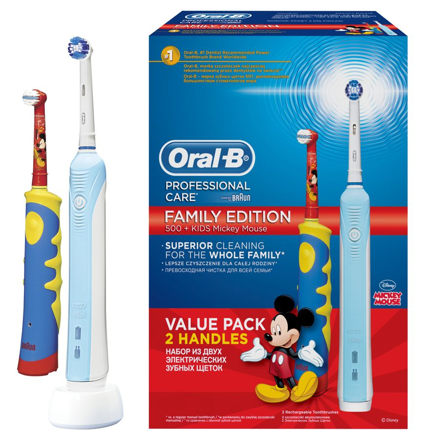 Зубная щетка BRAUN 500/D16.513-U + Oral-B Mickey Kids для детей [81496345]