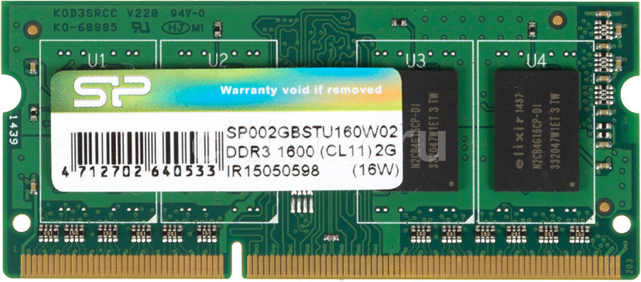 Модуль памяти SILICON POWER SP002GBSTU160W02 DDR3 -  2Гб 1600, SO-DIMM,  Ret