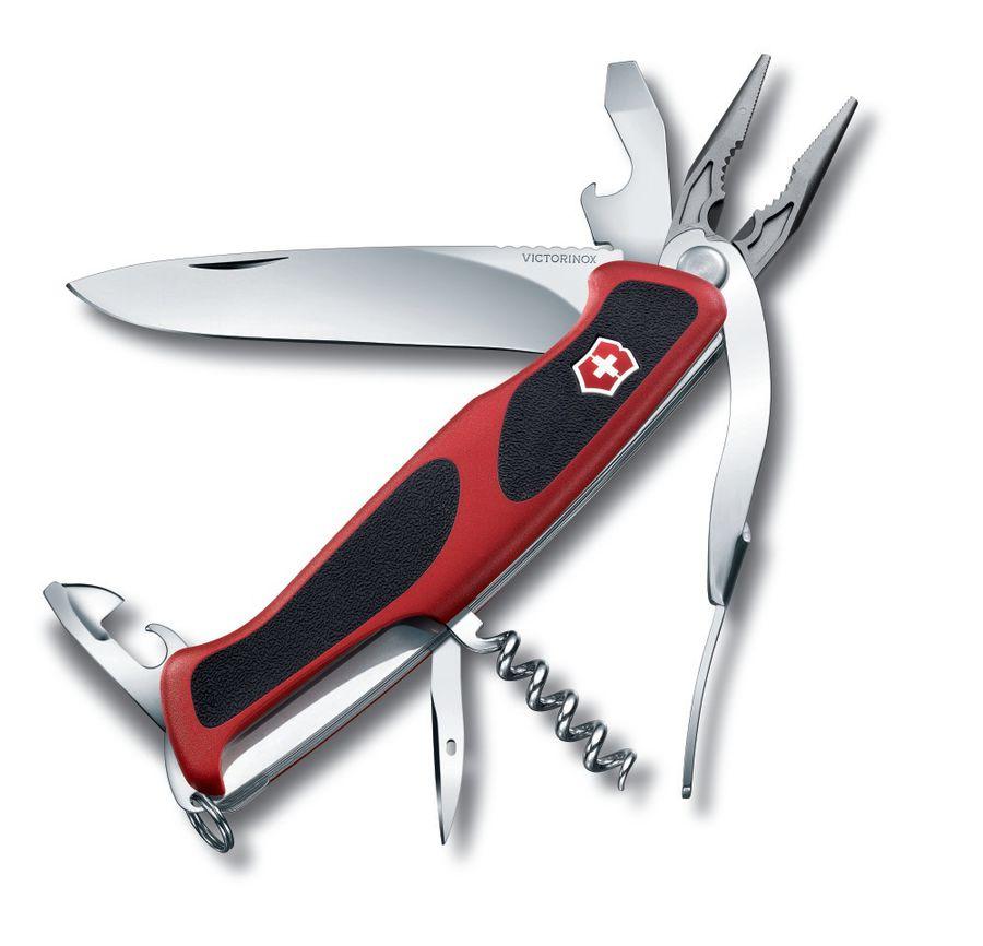 Складной нож VICTORINOX RangerGrip 74, 14 функций,  130мм, красный  / черный [0.9723.cb1]