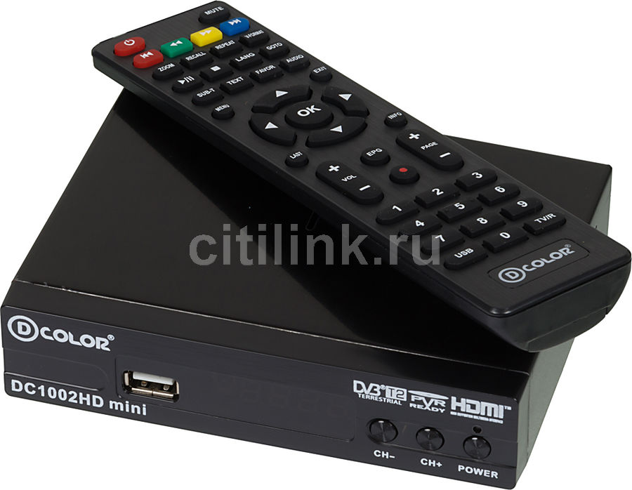Ресивер DVB-T2 D-COLOR DC1002HD mini,  черный