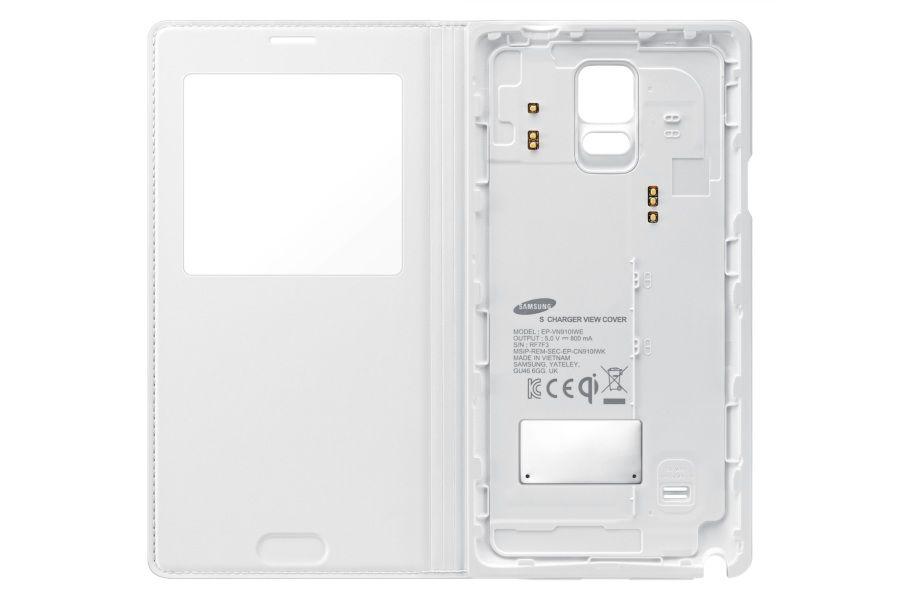 Чехол с функцией беспроводной зарядки SAMSUNG Wireless Charging S View Cover, для Samsung Galaxy Note 4, белый [ep-vn910iwrgru]