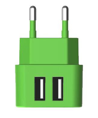 Сетевое зарядное устройство VERTEX Fancy 2 (TCFMIC2USBG),  2xUSB,  microUSB,  3.1A,  зеленый