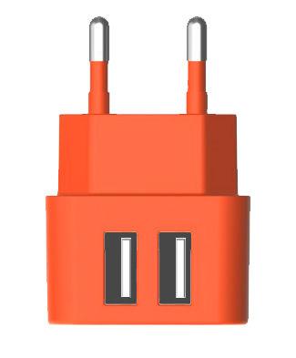 Сетевое зарядное устройство VERTEX Fancy 2 (TCFMIC2USBO),  2xUSB,  microUSB,  3.1A,  оранжевый
