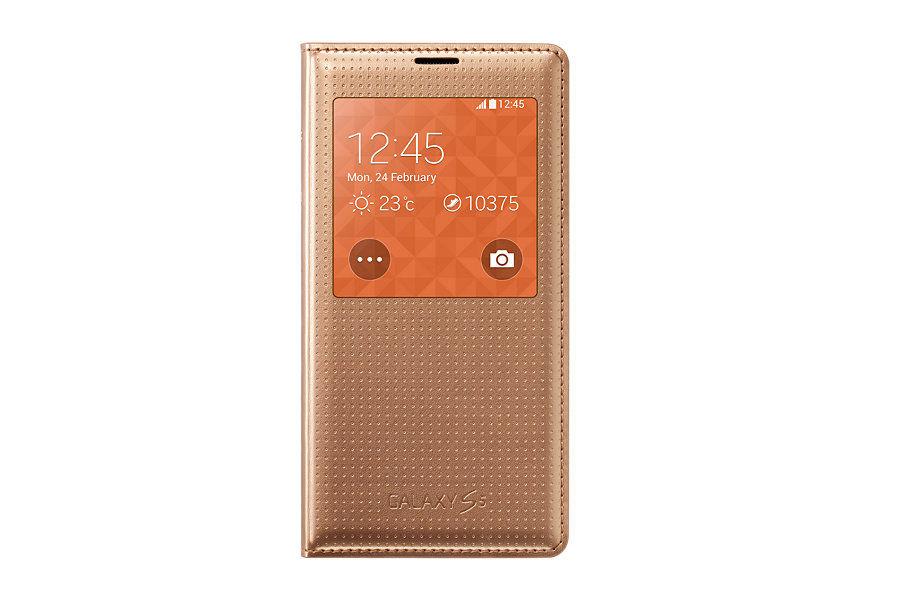 Чехол с функцией беспроводной зарядки SAMSUNG S View Cover Wireless, для Samsung Galaxy S5, золотистый [ep-vg900bfrgru]