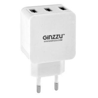 Сетевое зарядное устройство GINZZU GA-3315UW,  3.1A,  белый