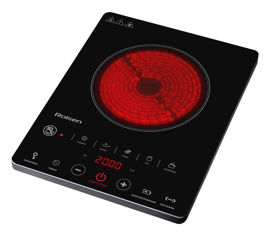 Электрическая плита ROLSEN RIC-2021,  стеклокерамика,  инфракрасная,  черный