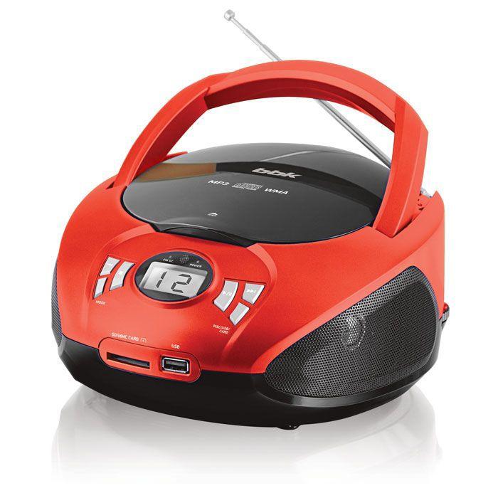 Аудиомагнитола BBK BX105U,  черный и красный