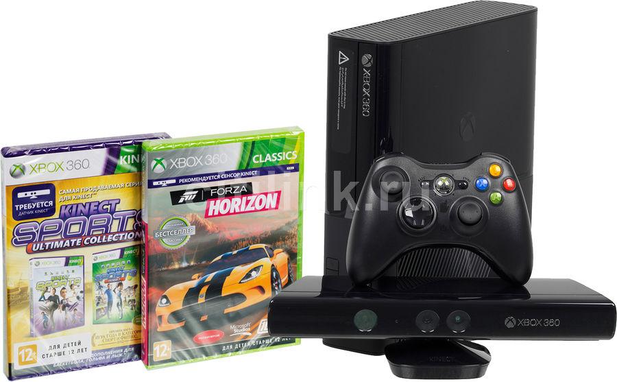 Игровая консоль MICROSOFT Xbox 360 E с 4 ГБ памяти, играми Forza Horizon, Sport Ultimate,  L9V-00049, черный