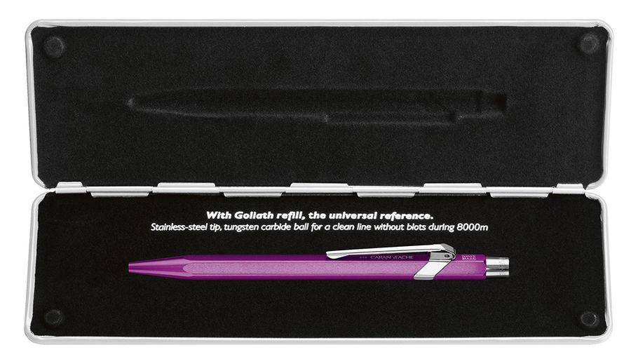 Ручка шариковая Carandache Office Popline Metal-X (849.850) Violet Metallic M синие чернила подар.ко