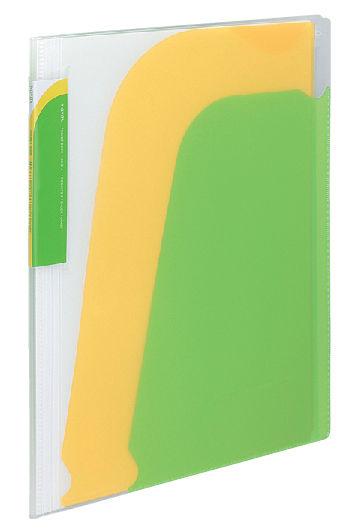 Папка-уголок Kokuyo Novita RA-N210LG 10 внутр.карман A4 пластик 0.8мм светло-зеленый/желтый