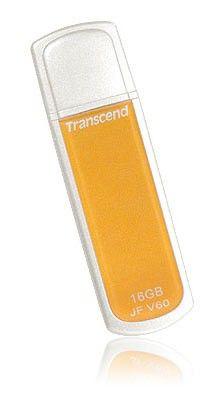 Флешка USB TRANSCEND Jetflash V60 16Гб, USB2.0, желтый и белый [ts16gjfv60]