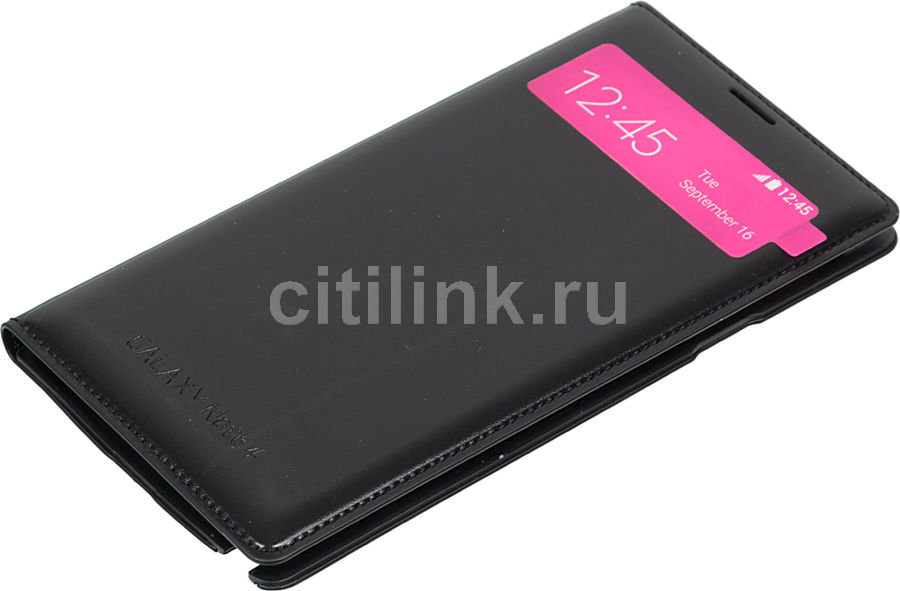 Чехол (флип-кейс) SAMSUNG S View Wallet, для Samsung Galaxy Note 4, черный [ef-en910fkegru]