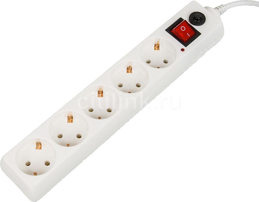 Сетевой фильтр BURO 500SH-1.8-W, 1.8м, белый