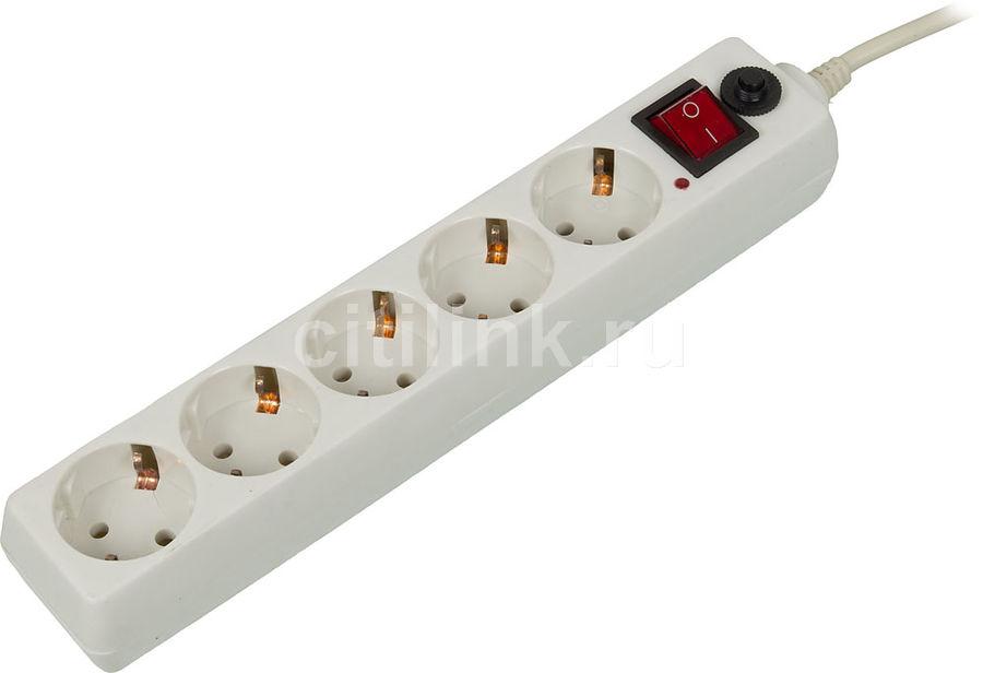 Сетевой фильтр BURO 500SH-10-W, 10м, белый