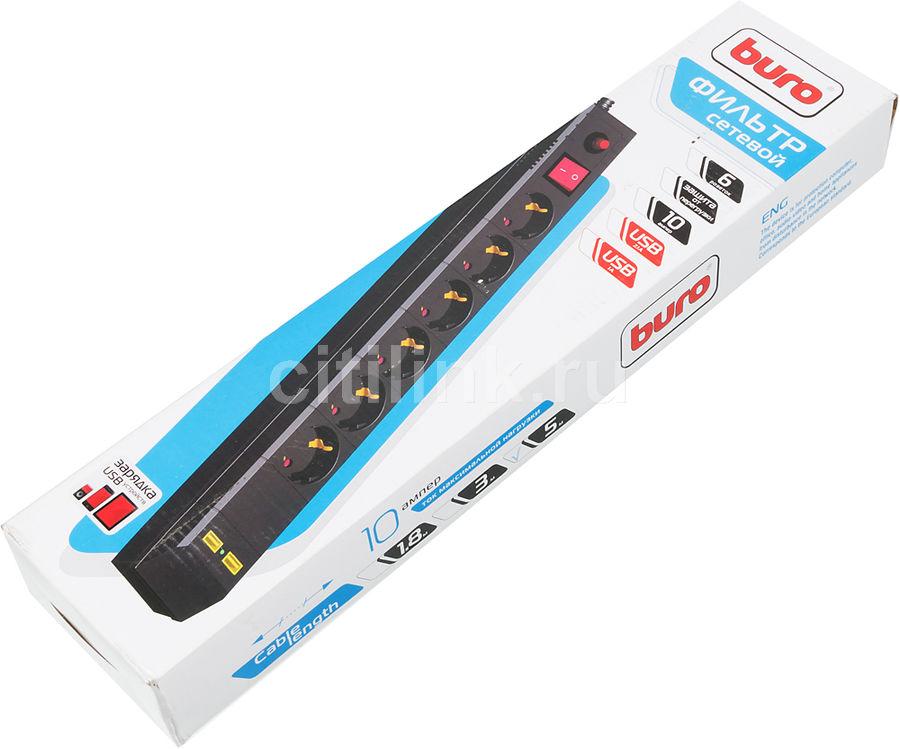 Сетевой фильтр BURO BU-SP1.8_USB_2A-W 6 розеток 1.8 м белый
