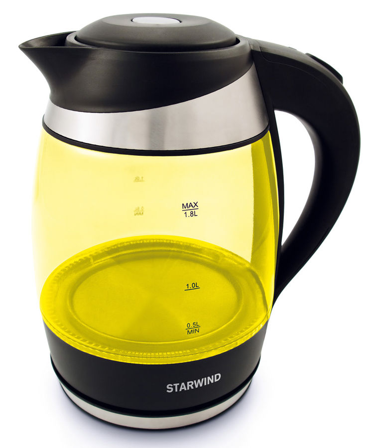 Чайник электрический STARWIND SKG2215, 2200Вт, желтый и черный