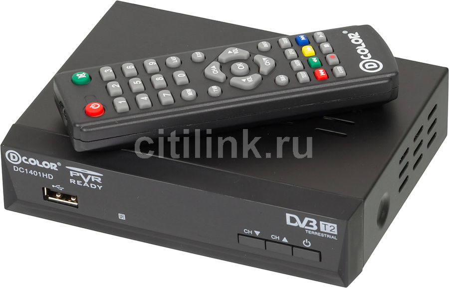 Ресивер DVB-T2 D-COLOR DC1401HD,  черный