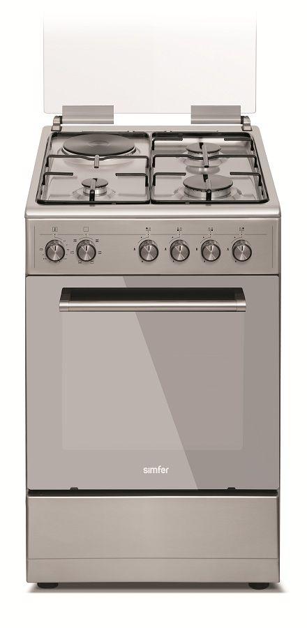 Газовая плита SIMFER F56EH36001,  электрическая духовка,  нержавеющая сталь