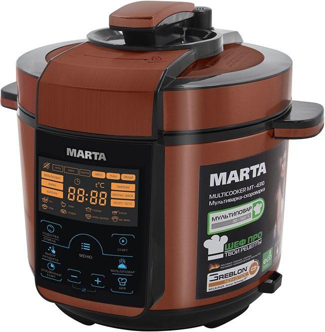 Мультиварка-скороварка MARTA MT-4310,  900Вт,   черный/красный